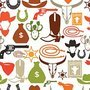 Wild west seamless pattern with cowboy objects and design elements