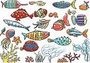 Fishes, sea plants collection