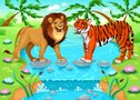 Lion and tiger together in the jungle