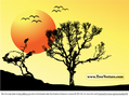 Sunset Vector Tree Background