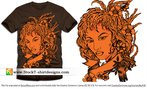 Beautiful Girl with Flowers and Banner Free T-shirt Design