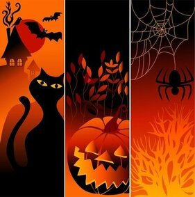 Vector Halloween Pumpkin Spider Black Cat