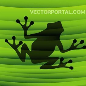 Frog Silhouette on Green
