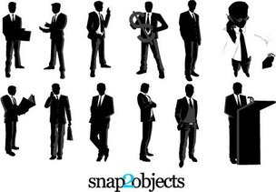 12 Free Vector Businessmen Silhouettes Pack 02
