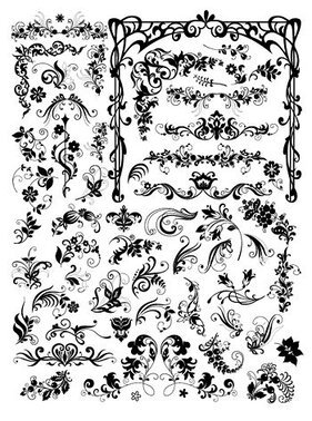 A variety of European style black and white pattern vector m