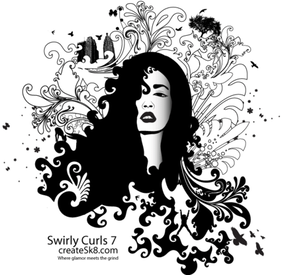 Swirly Curls - Medusa Vector Art