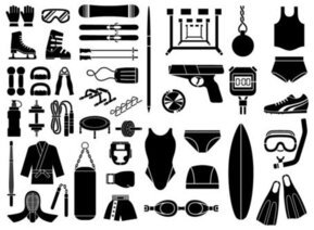 Various sketch elements of vector material - Sports equipmen