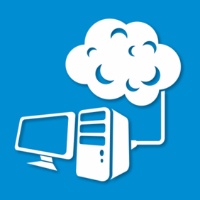 Astratto PC Desktop collegato al Cloud