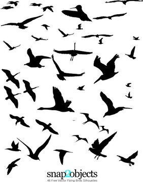 46 Free Vector Flying Birds Silhouettes
