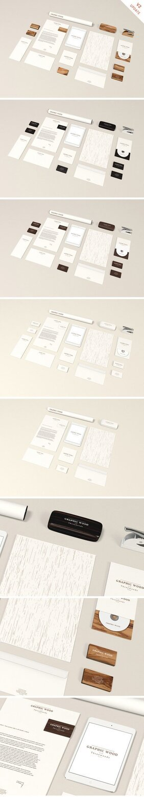 Briefpapier MockUp - Holz Edition