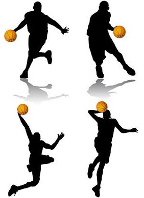 4 basketball action figure silhouettes