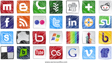 Grunge Social Sites Icons (28 Icons)