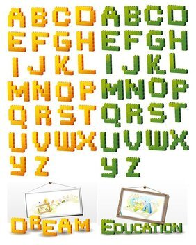 Three-dimensional building block-type letters