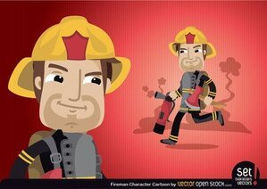 Fireman Cartoon Character