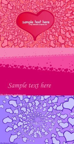 3 Valentine's Day heart-shaped card background vector materi