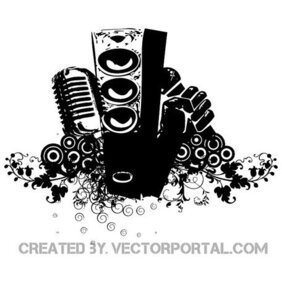 SPEAKERS MIC AND FLOWERS FREE VECTOR.eps