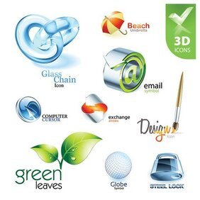 Exquisite collection of three-dimensional icons 2 vector mat