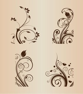 Swirl Floral Design Vector Illustration Set
