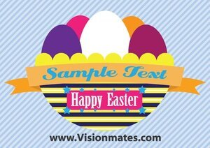 Easter Eggs Vector With Basket