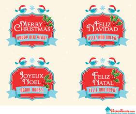 Free Royalty-Free Vectors to Say Merry Christmas & Happy New Year