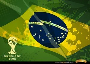 Brazil grunge flag football cup logo