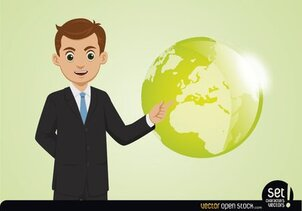 Young Businessman Showing Globe