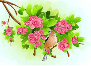 Green Leaf Pink Flowers Background