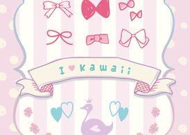 "KAWAII Vector ""Ribbons&Flower&Swan"