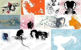 12 women in head silhouette with the pattern