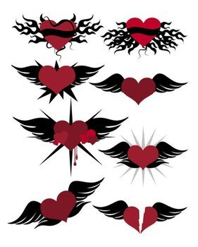 With a heart-shaped vector material Wings