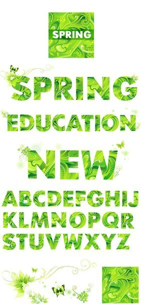 Spring green letters