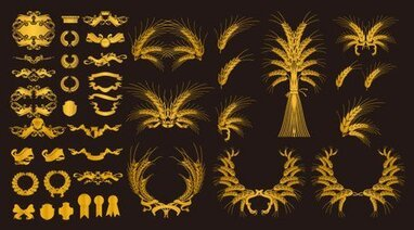 European decorative element vector material gold