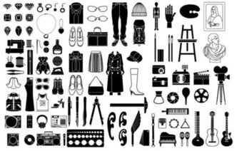 Elements of a variety of silhouettes vector material - or ev