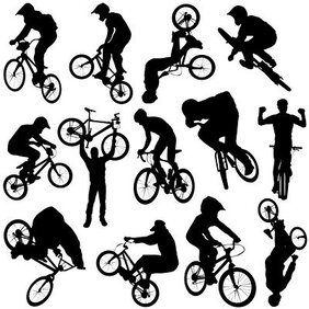 Cycling People silhouettes