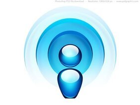 Blue radio wave icon (PSD)