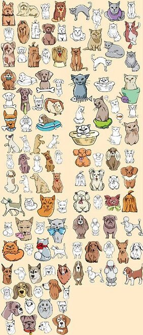 A variety of cats and dogs comic style