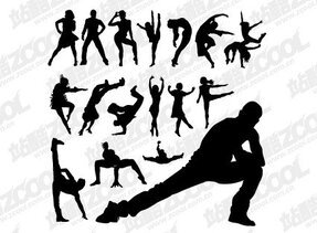 People silhouettes vector material dance moves