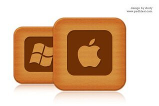 Wooden style social icon set 1