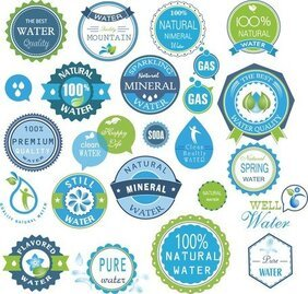 Water Badges en Stickers Set