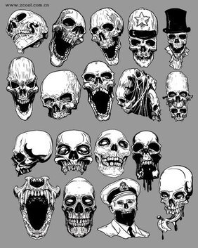 Vector skull over the trend of material