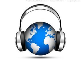 PSD world music icon, globe with headphones