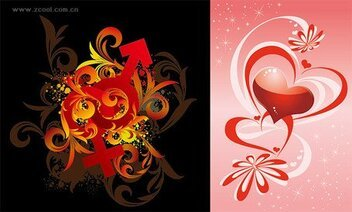 Symbols for men and women heart-shaped pattern vector materi