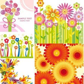 Vector backgrounds of colorful flowers