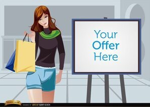 Shopping girl beside promo screen