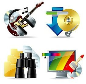 Music, download, look, color and other vector icon material