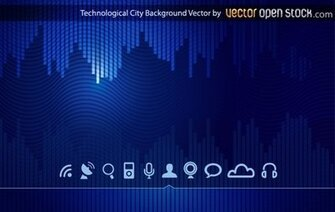 Technologic skyline city background