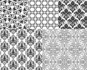 European-style black and white background pattern vector mat