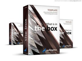Abstract brown 3D box template (PSD)