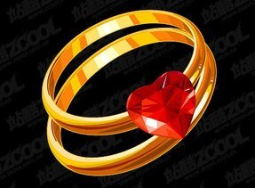 Heart-shaped diamond gold ring