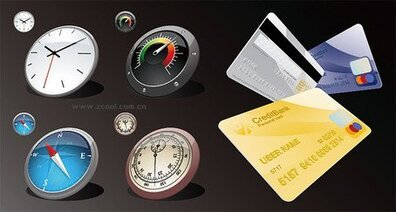 Clock Compass Credit Card